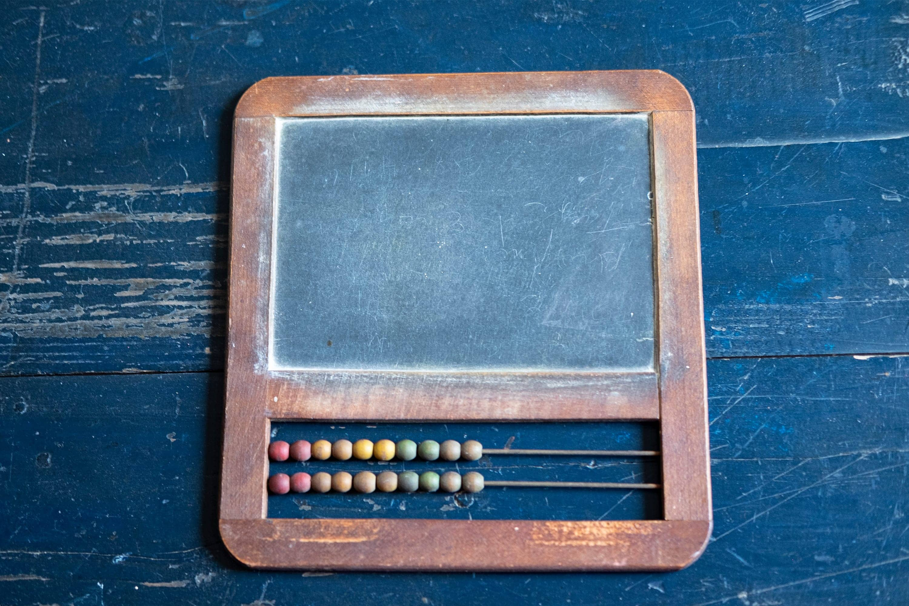 closeup of antique slate chalkboard with abacus